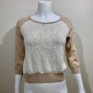 Knitted & Knotted Anthropologie Sweater Tan White